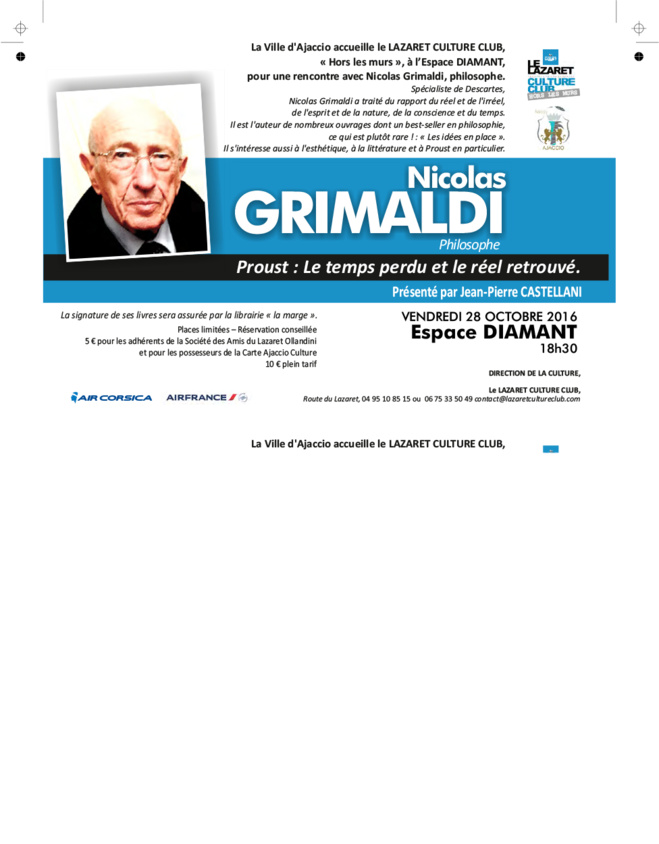 Vendredi 28 octobre 18h30 : Rencontre avec le philosophe Nicolas Grimaldi