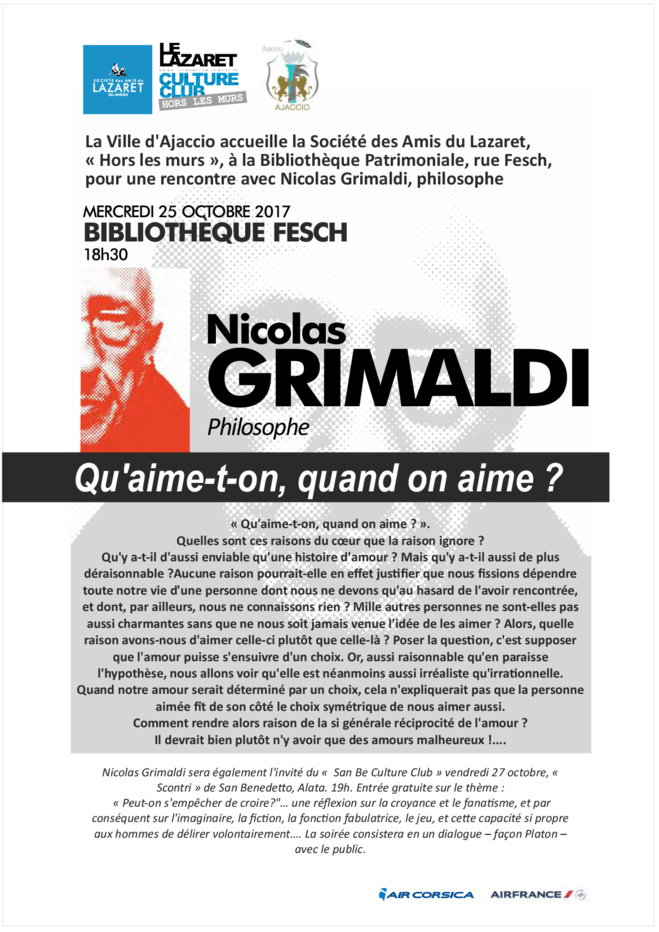 Conférence de Nicolas Grimaldi