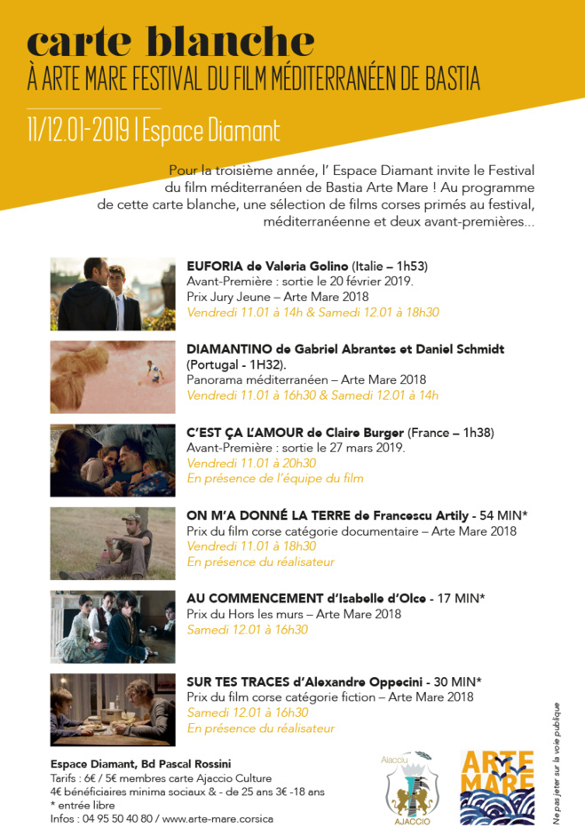 Cinéma / Arte Mare à l'Espace Diamant les 11 et 12 janvier