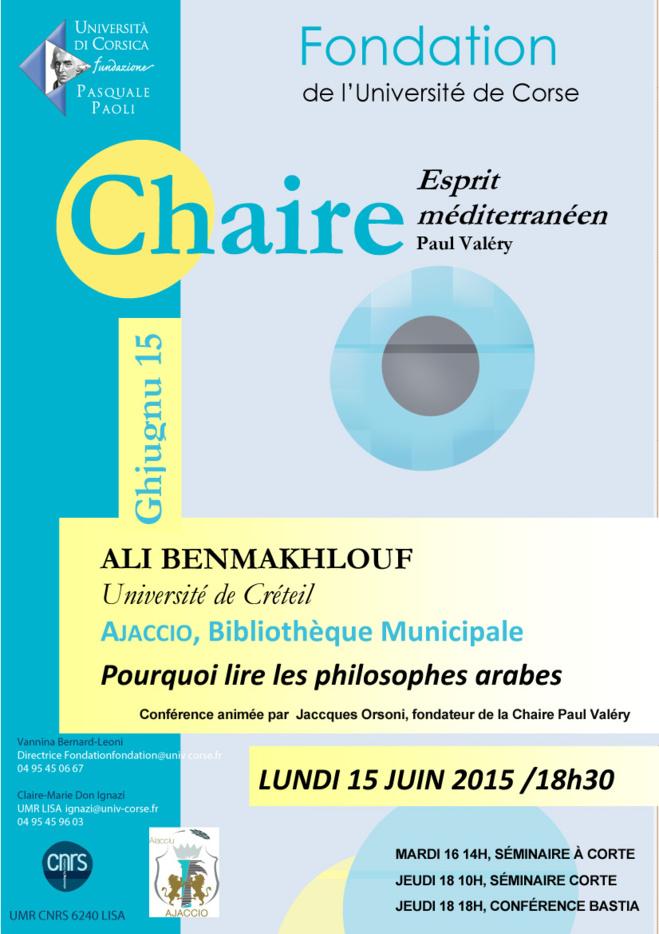 """Lundi 15 juin/ """"Pourquoi lire les philosophes arabes?""""/ Conférence d'Ali Benmakhlouf / en partenariat avec l'Université de Corté"""