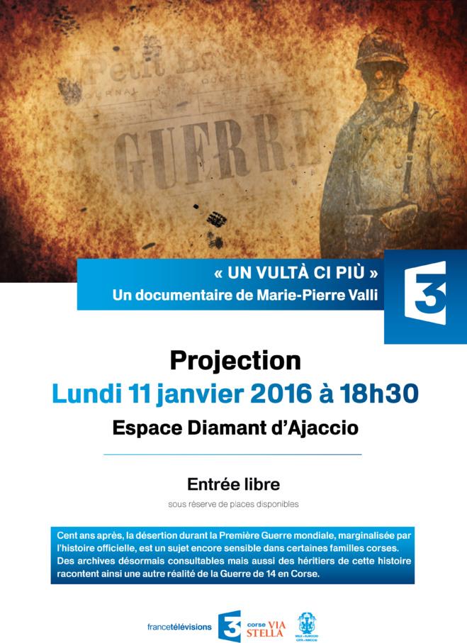 """L'avant - première du film """"Un vultà ci più"""" prévue le lundi 11 janvier à 18h30 est annulée"""