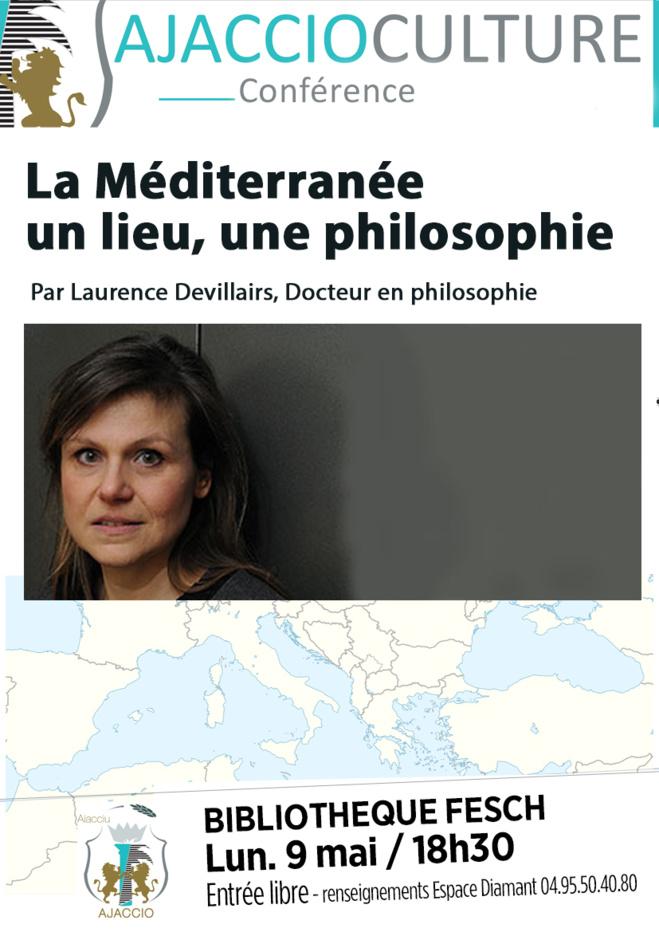 Lundi 9 mai Conférence à la Bibliothèque « La Méditerranée : un lieu, une philosophie », animée par Laurence Devillairs,