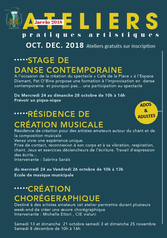 Ateliers de pratiques artistiques / automne 2018