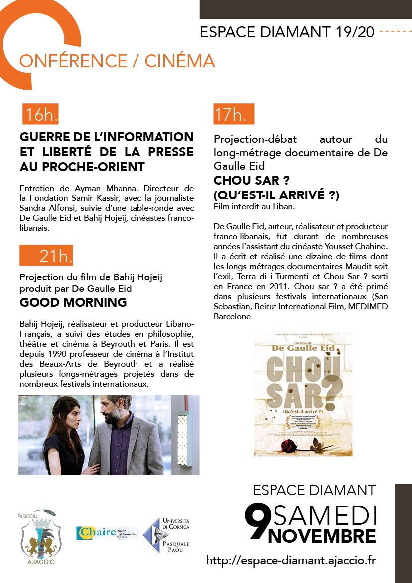 Cinéma / Conférence le samedi 9 novembre