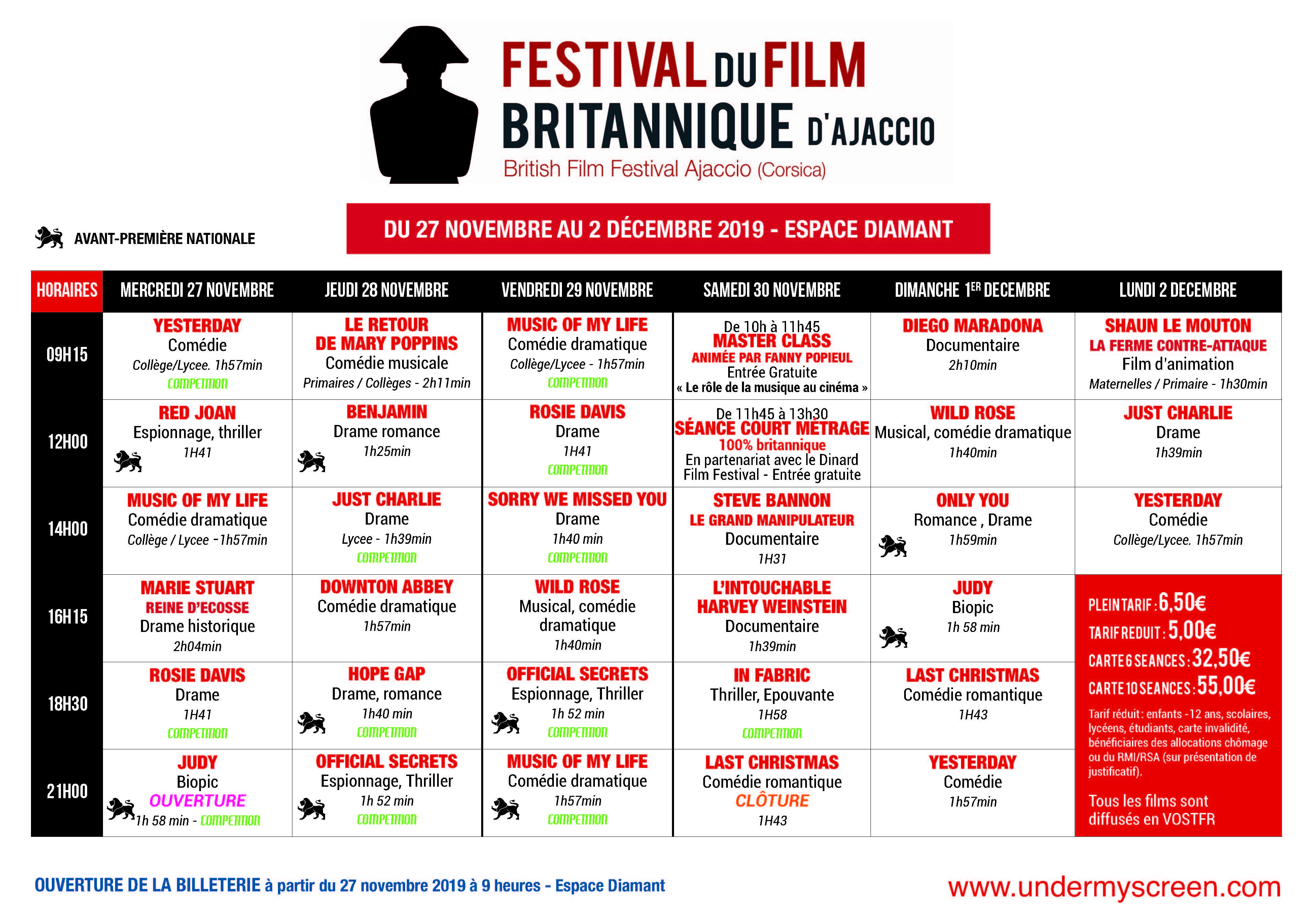 Festival du Film Britannique d'Ajaccio, « Under My Screen »