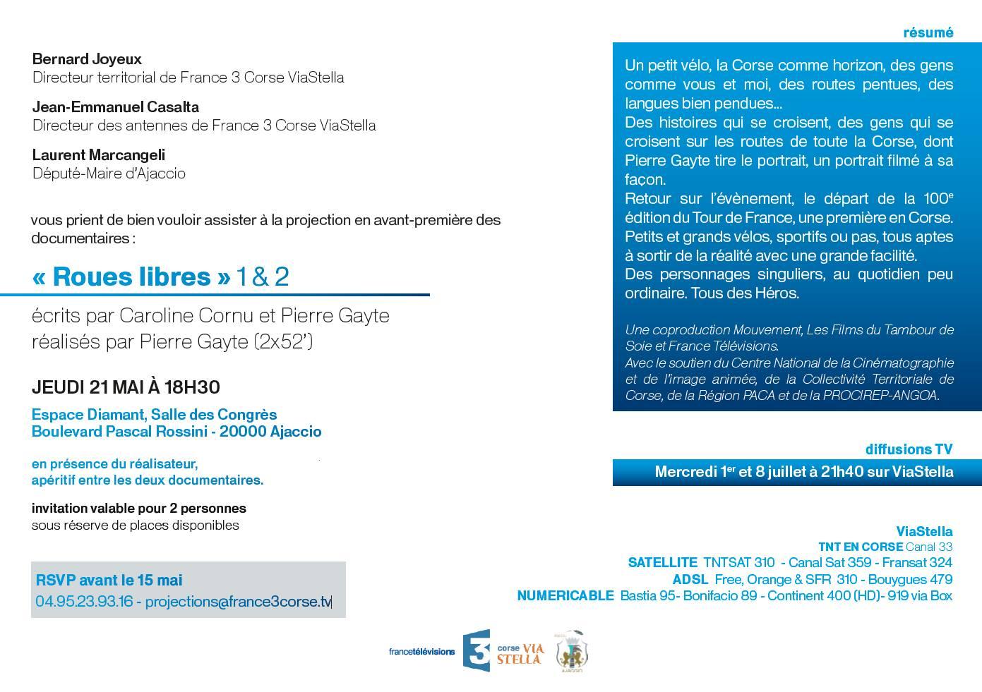 """Jeudi 21 mai 18h30 :Projection en avant-première des documentaires """"Roues libres"""" 1 & 2"""