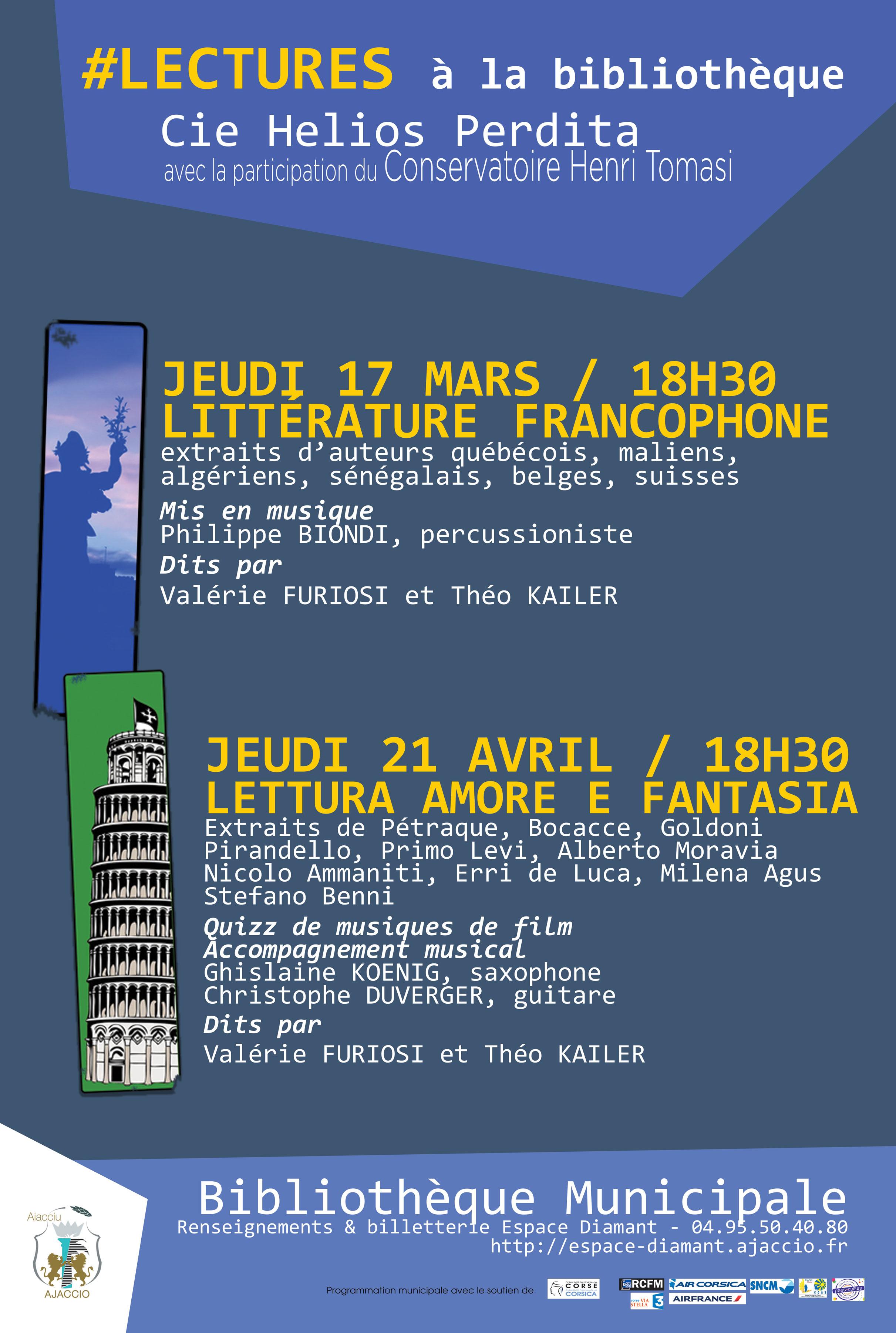 Jeudi 17 mars, 18h30 Lecture à la Bibliothèque : La littérature francophone