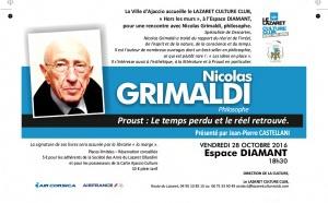 """Vendredi 28 octobre, 18h30: Rencontre avec le philosophe Nicolas Grimaldi """"Proust : Le temps perdu et le réel retrouvé"""""""