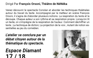 Atelier autour du spectacle Coriolan, dirigé par François Orsoni