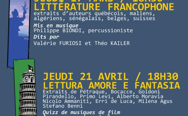 Jeudi 21 avril, 18h30 Lecture à la Bibliothèque : Lettura amore e fantasia